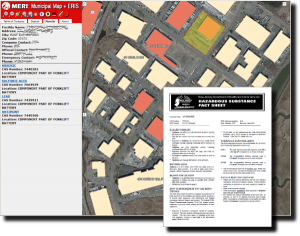 ERIS Screenshot depicting Right to Know factsheet and critical facility data