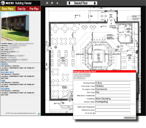 ERIS Screenshot depicting building floor plans and emergency size-up form