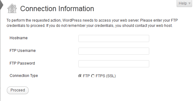 Wordpress: connection information is required